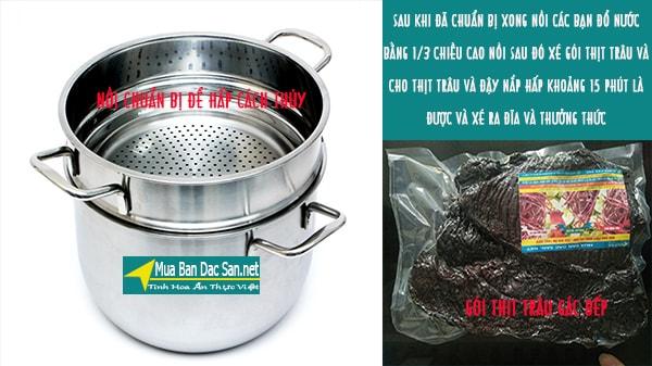 thịt trâu gác bếp hấp cách thủy