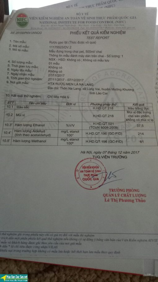 Rượu na lang- giấy chứng nhận kết quả rượu nalang